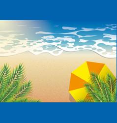 beach sea in summer orange umbrella under coconut vector image