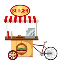Bicycle burger mobile snack icon cartoon style vector