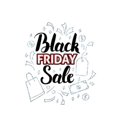 Black Friday Sale with Doodles vector image