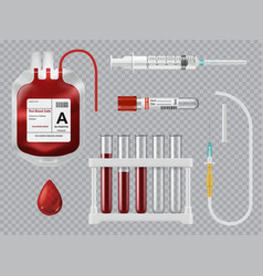 Blood testing transfusion equipment vector