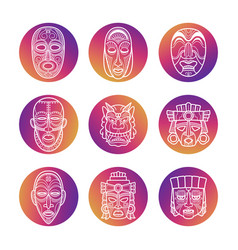 bright icons with white african tribal vodoo masks vector image