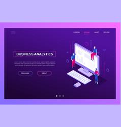 business analytics - modern isometric web vector image