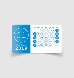 Calendar january 2019 year in paper sticker with vector