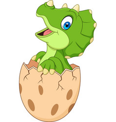 cartoon baby triceratops hatching from egg vector image
