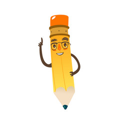 Cartoon humanized pencil in cap and glasses vector