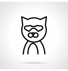 Cat in glasses simple line icon vector