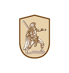 Centurion Roman Soldier Wielding Sword Cartoon vector
