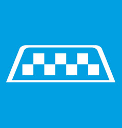 Checker taxi icon white vector