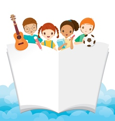 Children With School Supplies And Book vector image