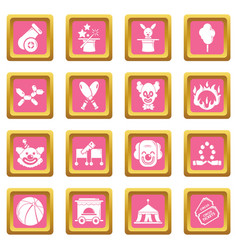 Circus icons set pink square vector