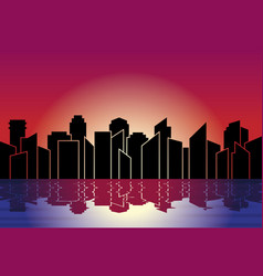 city silhouette skyline at night in sunset with vector image
