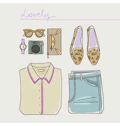 collection woman clothes shoes and accessories vector image