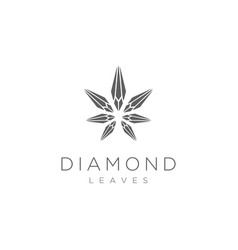 diamond star cannabis leaf hemp cbd logo design in vector image