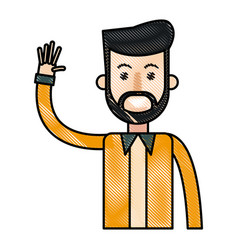 Drawing bearded man with arm up design vector