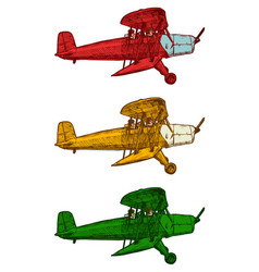 Drawing of airplane stylized as engraving vector