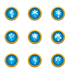 Earth flower icons set flat style vector