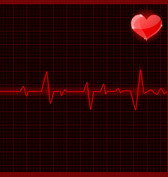 electrocardiogram red waves with heart symbol vector image