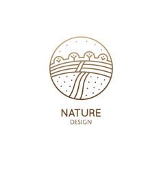 farm landscape field line icon outline vector image