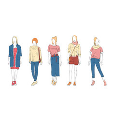 fashion collection clothes female models set vector image