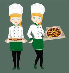 Female pizza chef vector