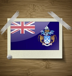 Flags Tristan da Cunha at frame on wooden texture vector