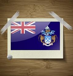 Flags tristan da cunha at frame on wooden texture vector