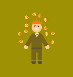 Flat icon stylish background poker man player vector