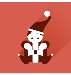 Flat web icon with long shadow Christmas elf vector
