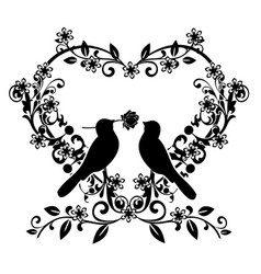 Flourishes with birds love 2 vector