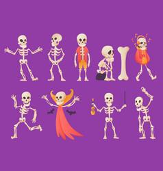 funny cartoon skeleton bony character vector image