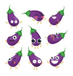 Funny eggplant - isolated cartoon emoticons vector