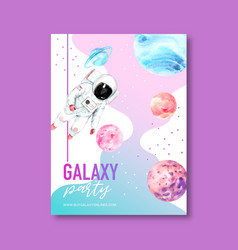 Galaxy poster design with astronaut and planet vector