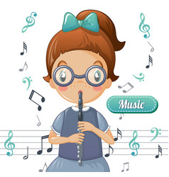 girl play flute music concept background cartoon vector image