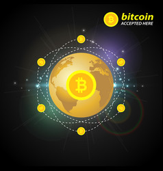 Gold bitcoin on the background of the planet vector