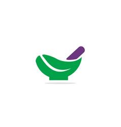green leaf mortar logo vector image