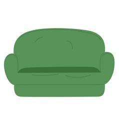 Green sofa comfortable furniture for home icon vector