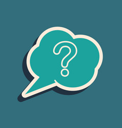 Green speech bubble and question icon isolated on vector