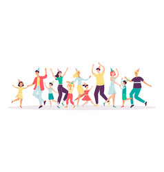 group diverse cheerful people dancing flat vector image