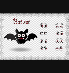 halloween set of cute cartoon bat character for vector image