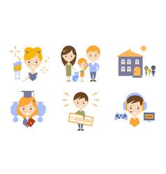 happy family modern lifestyle icons set flat vector image