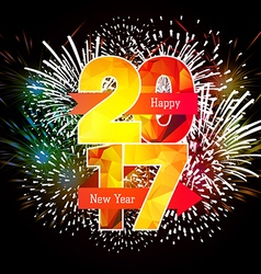 Happy New Year 2017 Fireworks colorful vector