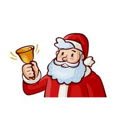 Happy santa claus ringing bell jingle bells vector