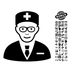 Head Physician Flat Icon With Bonus vector