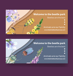 Insect and bird banner design with beetle flowers vector