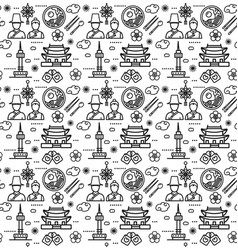korea signs seamless pattern background on a white vector image