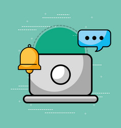 laptop bell and speech bubble customer service vector image