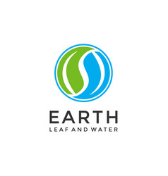 Leaf water and earth for life logo design vector