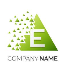 letter e logo symbol in colorful triangle vector image