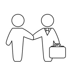 line businessmen with suit and briefcase vector image