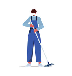 Male cleaner using mop janitor wearing mask to vector